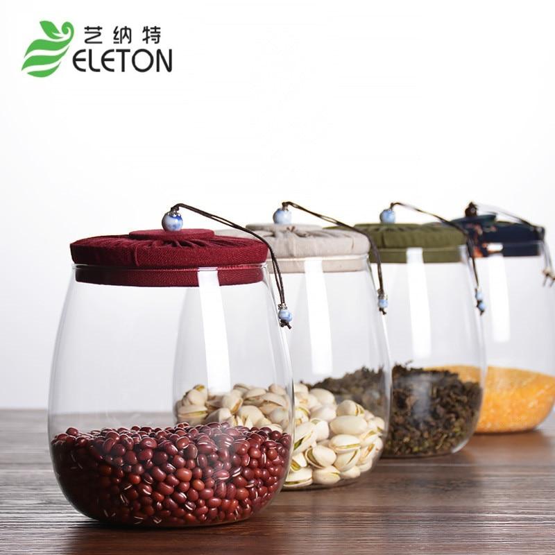 ELETON чай Caddy Ежедневен резервоар за съхранение на кухненски контейнер за съхранение на влага, стъклен уплътнителен буркан Кухненски аксесоари