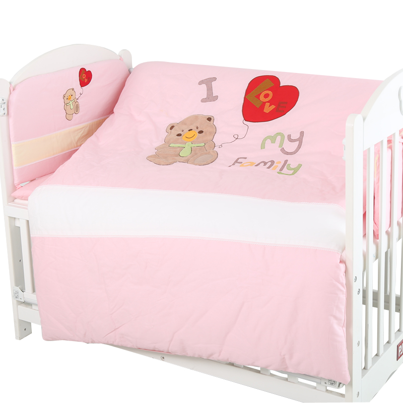 4pcs Cotton Baby Cot Bedding Set Bedding Detachable Quilt Pillow Newborn Cartoon Bear Crib Bumpers Sheet Cot Bed Linen crib comforter baby sheet baby bedding 100% cotton cartoon sets detachable quilt pillow bumpers cot fitted sheet newborn cute