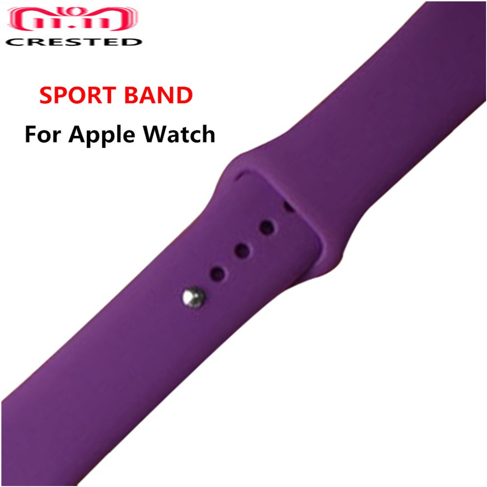 CRESTED Sport Silicone strap For Apple watch 4 band 44mm 40mm iwatch series 3 2 1 42mm/38mm rubber wrist Bracelet watchband belt crested sport strap for apple watch band 42mm 38mm silicone iwatch series 3 2 1 wrist band bracelet rubber watchband accessories