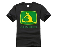 HOT deals Simple Splicing  T-Shirt John Beer Deer Funny Logo Size S-3XL Crew Neck