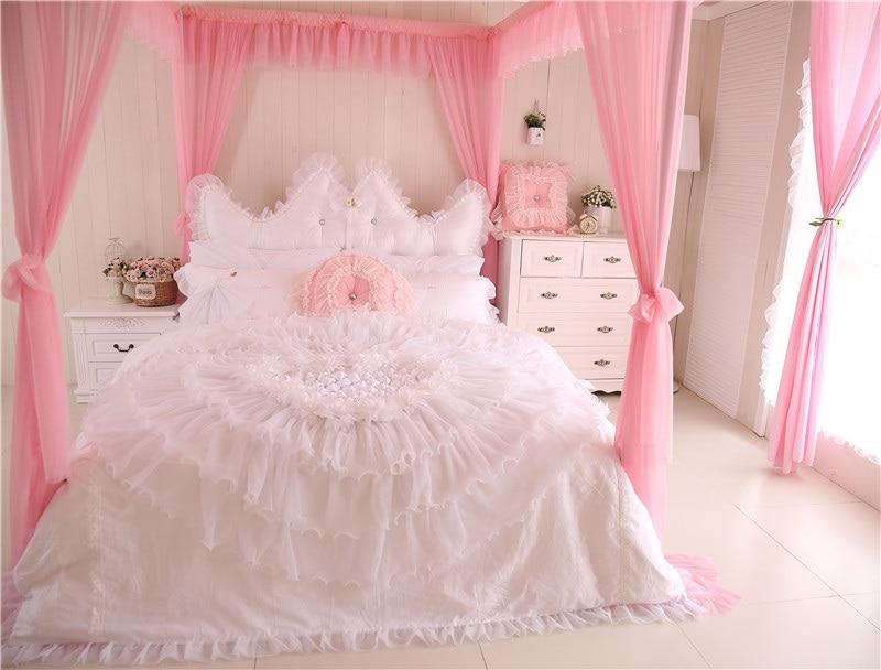 Girls Luxury Bedding: Cotton+Lace Princess Style Luxury Wedding Bedding Set