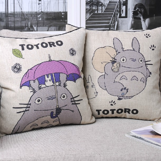 Creative Cute Cartoon Hayao Miyazaki Totoro Cotton Cushion Pillow  For Office Car Home Decor Cushions 45*45cm 2PCS/LOT