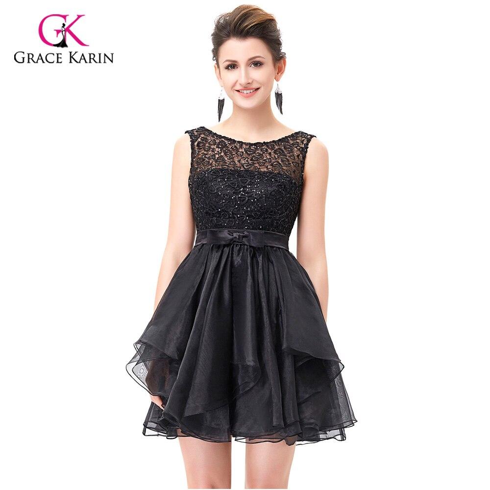Luxury Cocktail dresses Grace Karin 2018 Short Black Lace Coctail ...