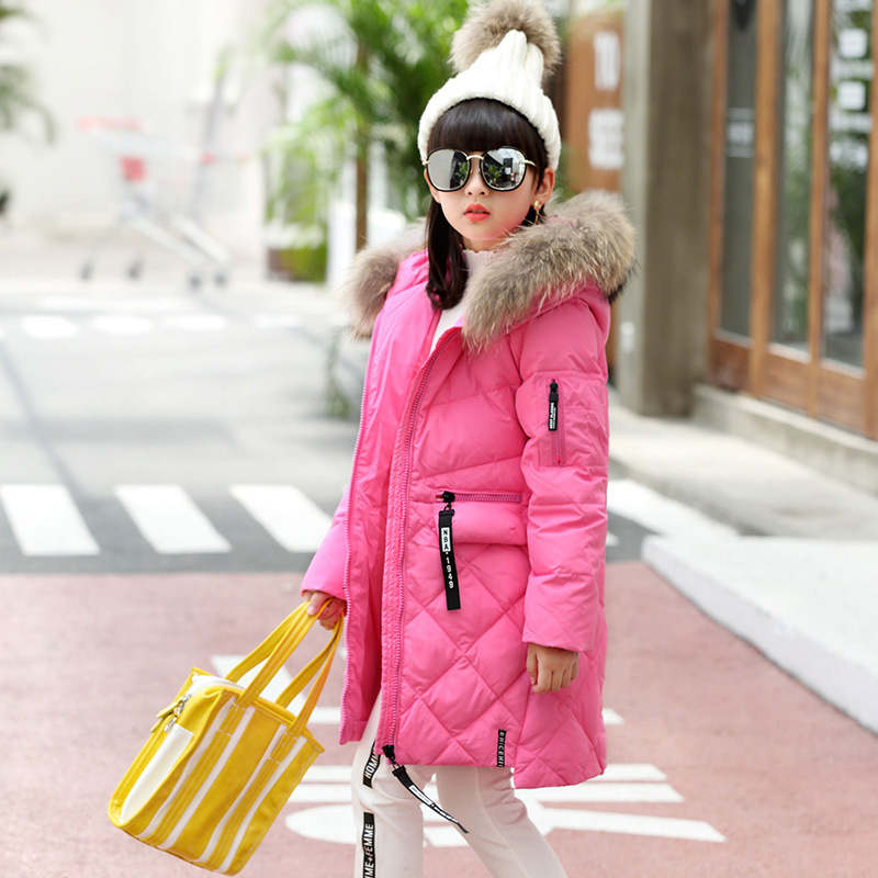 Mioigee Girls Fashion Fur Collar Winter Outerwear Hooded Thick Children Girls Long Duck Down Jacket Coat High Quality winter girl jacket children parka winter coat duck long thick big fur hooded kids winter jacket girls outerwear for cold 30 c