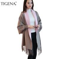 TIGENA Contrast Color Tassel Long Cardigan Female 2017 Autumn Winter Batwing Sleeve Warm Knitted Cardigans Women Cape Poncho