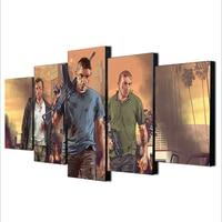 Unframed 5 Stuks Grand Theft Auto V Muur Canvas Print Poster Game Hot GTA 5 Beelden Voor Woondecoratie schilderen