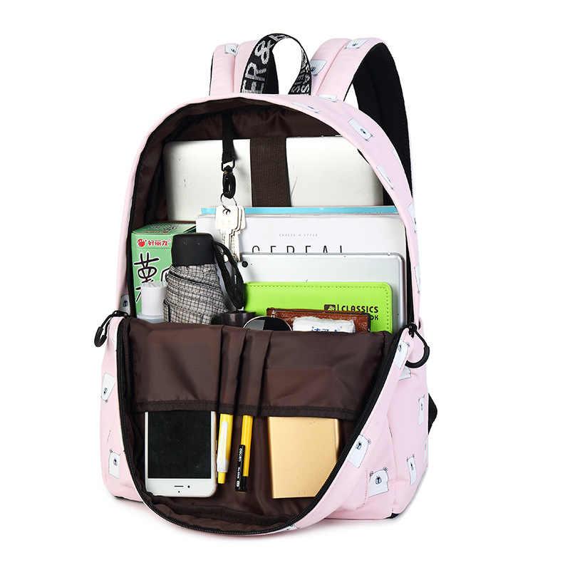 Mochila De tela impermeable Linda para mujer, mochila con estampado de patrón de oso para niñas, mochila para ordenador portátil diaria de gran capacidad