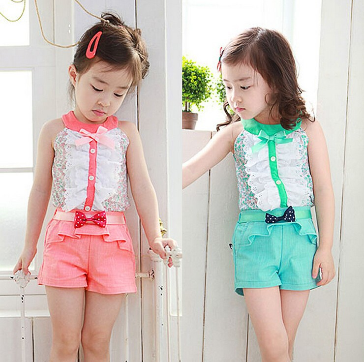 Kids new summer girl Cotton bow tie lace button girl shirt + shorts 2 3 4 5 6 7 8 years old baby girl clothes allover florals bow tie detail frill top with shorts