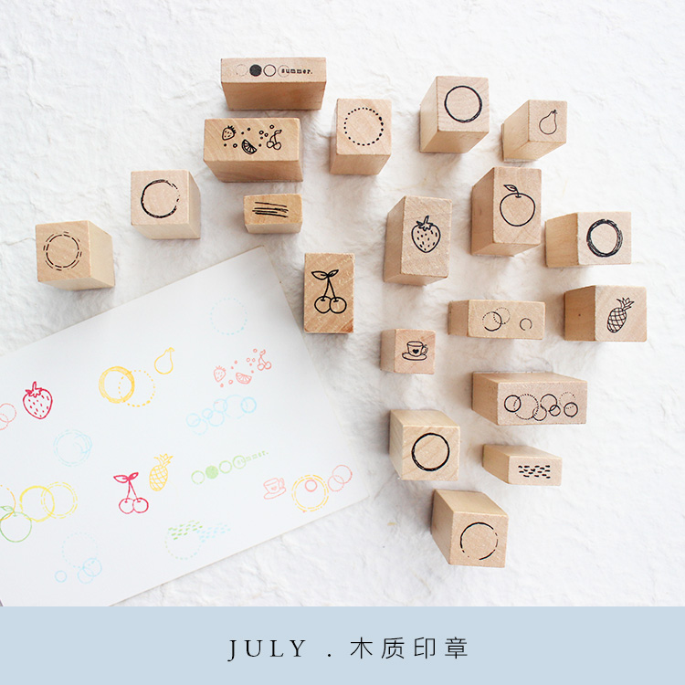 Moodtape Vintage Wood Clear Stamp Circle Summer For DIY Scrapbooking/photo Album Decorative Stamp   Rubber Stamp Seal