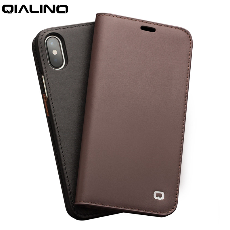 QIALINO Luxury Phone Case for iPhone XS MAX X XR Ultra Slim Genuine Leather Flip Cover