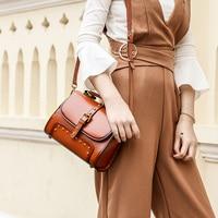Designer Women Handbag Female Oil Wax Cowhide Genuine Leather Bags Handbags Ladies Portable Shoulder Bag Office lady Totes bolsa