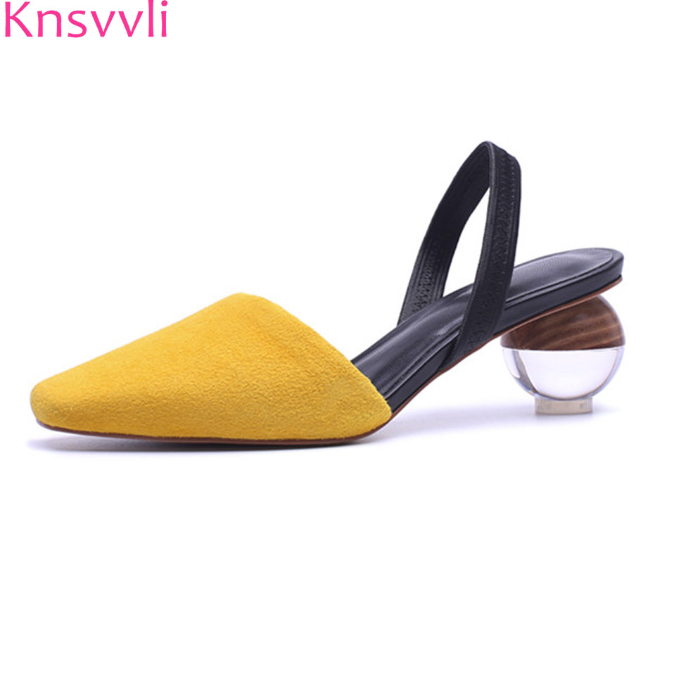 Knsvvli crystal round ball heel women shoes mixed color square toe concise ladies sandals strange style
