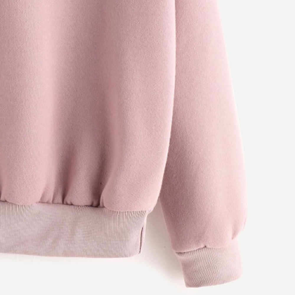 Yeni sonbahar kış kadın bayanlar moda düz uzun kollu rahat kapüşonlu Sweatshirt kazak üst bluz sıcak Tops 2018 A1