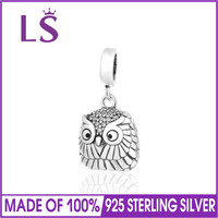LS Dangle Lucky Owl Charms 100 925 Sterling Silver Charm Beads Fit Brand European Charms Bracelet