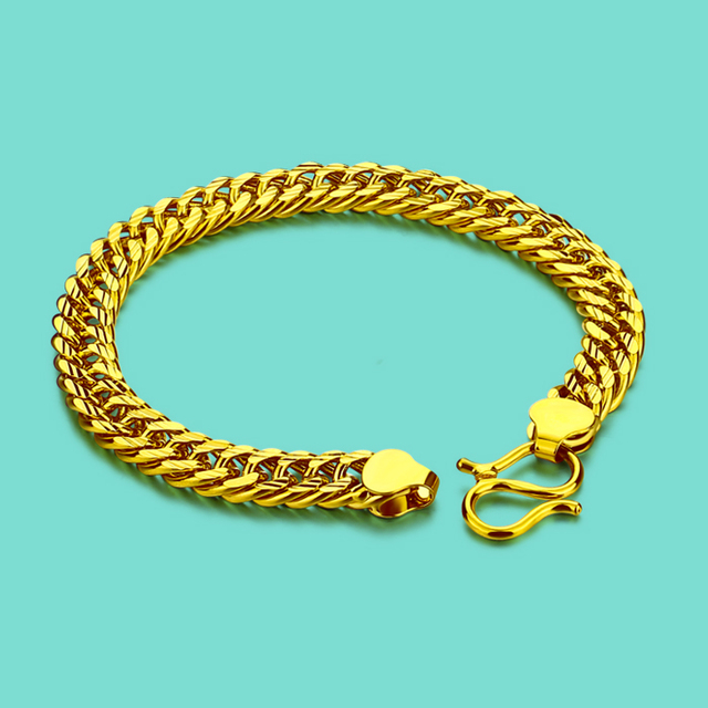 Fashion Men S Gold Bracelet 24k Gold Bracelet Simple Style Whip