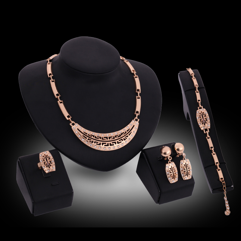 Fashion Wedding Necklace for Women Imitation Crystal Jewelry Sets Pendant Party Earrings Bracelets Dress Accessories Gift P20