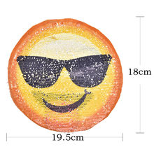 Emoji Reversible Sequined Sew On Patches for clothes DIY Coat Sweater  Embroidered Paillette emoji Patch Applique 9f84672b6bc1