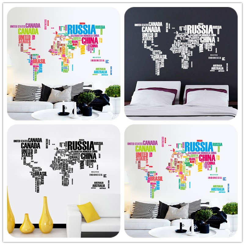 poster letter world map quote removable vinyl art decals mural poster letter world map quote removable vinyl art decals mural living room office decoration wall stickers home decoration gumiabroncs Gallery