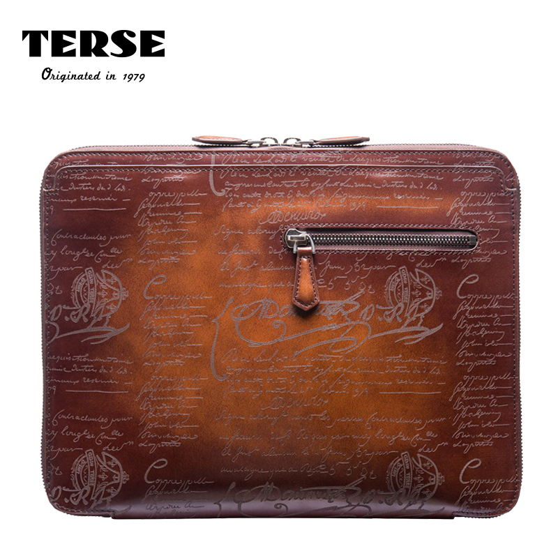 TERSE_2017 New release handmade leather portfolio mens genuine leather document clutch bag with engraving custom service
