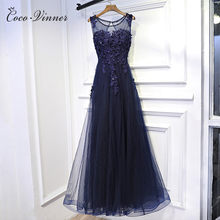 6c5ec5a6ee4 C.V New sexy women evening dress boat neck royal blue elegant design noble  long flower lace