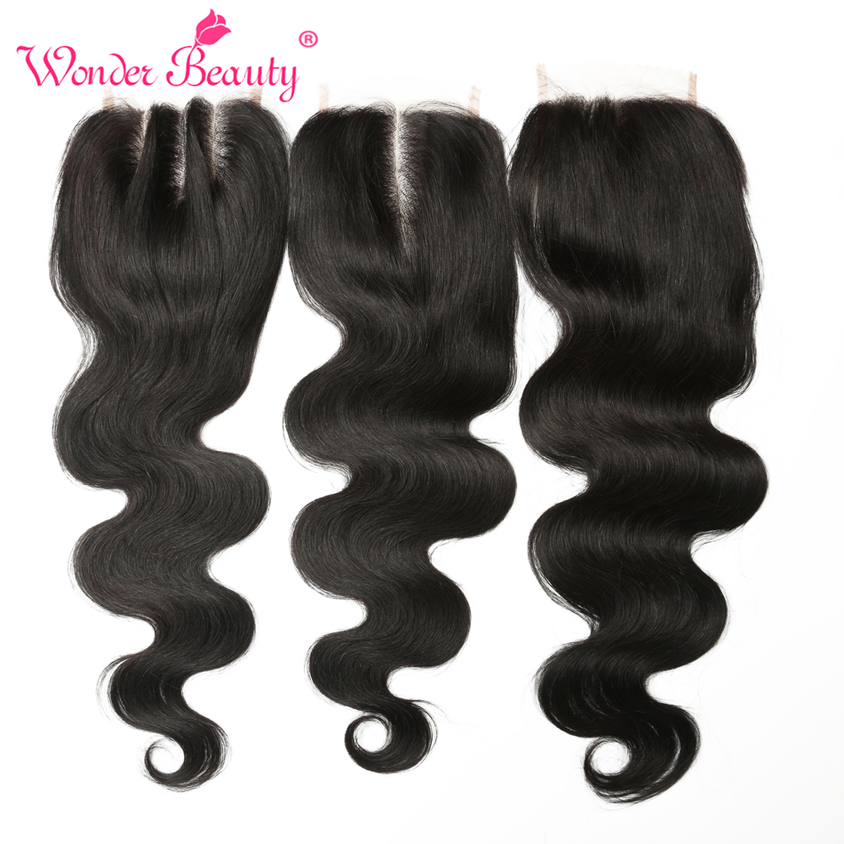 Wonder Beauty Brazilian Body Wave Lace Closure 4''x4'' 100% Remy Human Hair Three Part Natural Color 8- 20 inch Free Shipping