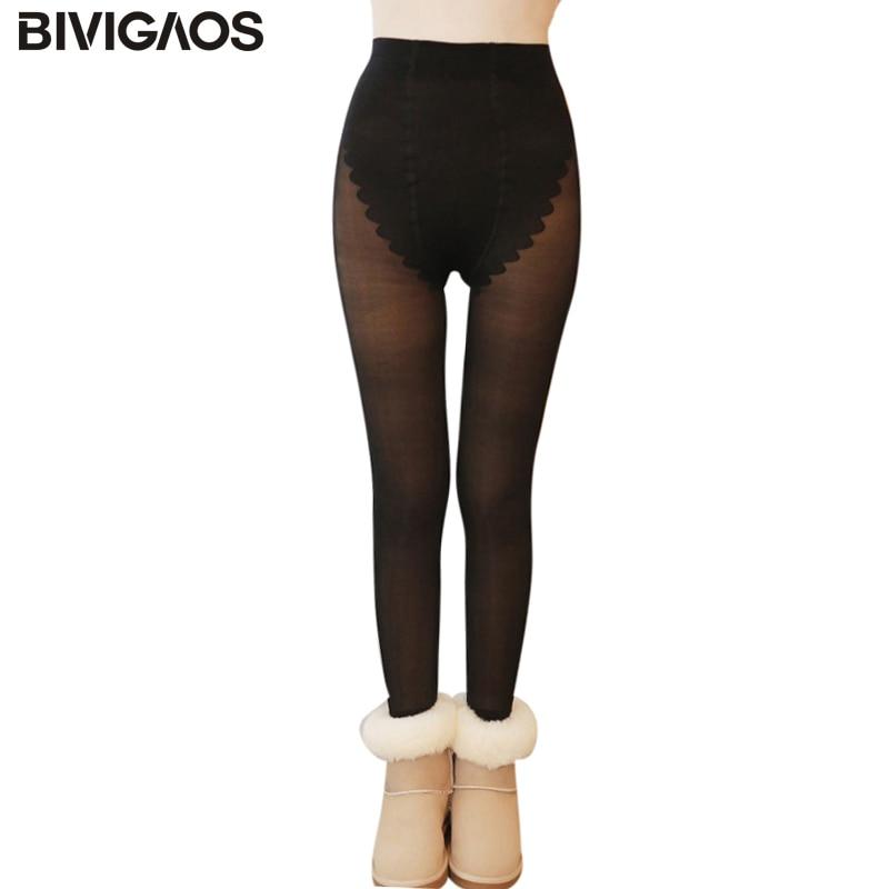 BIVIGAOS Autumn Winter Womens Nude False Transparent Plus Velvet Thick Warm Leggings Elastic Slim Hip Silk Sexy Leggings Pants
