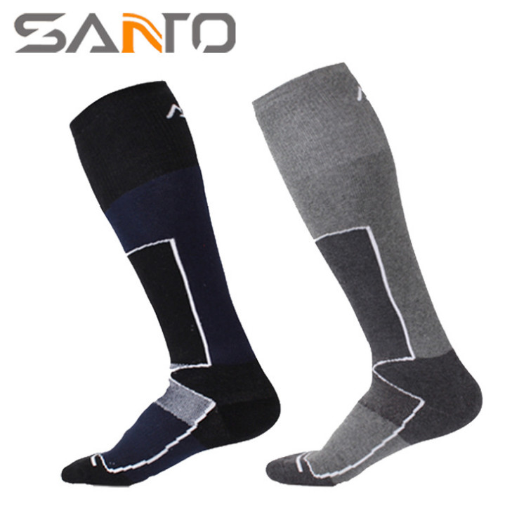 2 Pairs SANTO S023 Outdoor Cotton Nylon Skiing Socks Mens Knee-High Sports Socks Quick Dry Warm Fit to Size 39-43
