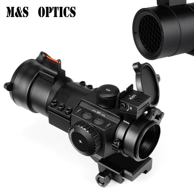 Optics Sight 1X30 Fiber Optical Aim Sight Collimator Red Dot For Air Rifle Hunting Airsoft Scopes With Front Sight