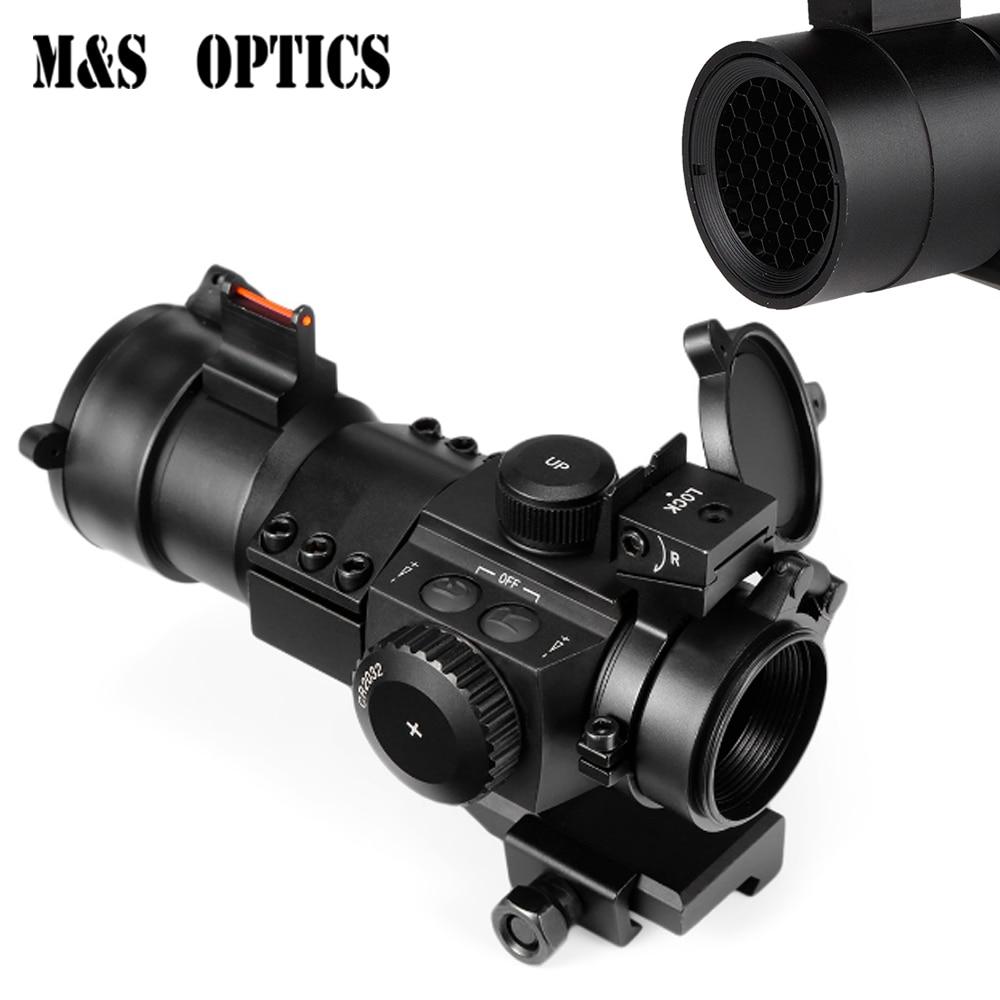 Optique vue 1X30 Fiber optique visée collimateur point rouge pour fusil à Air chasse Airsoft Scopes avec vue avant