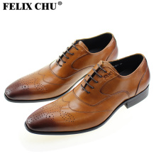 FELIX CHU Italian Stylish Genuine Calf Leather Mens Brown Dress Shoes Lace Up Brogue Carved Formal Office Party Flats #185-327