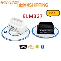 Elm327 MINI Bluetooth ELM327 V 2.1 OBD2 OBDII Black elm 327 v2.1 Auto Code Scanner bt Adapter Android koppel