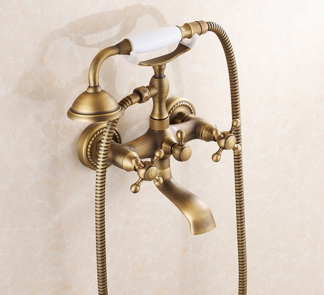 3PCS Floral Telephone Antique Brass Wall Mounted Solid Brass Bathroom Tub  Faucet / Bathtub Tap /