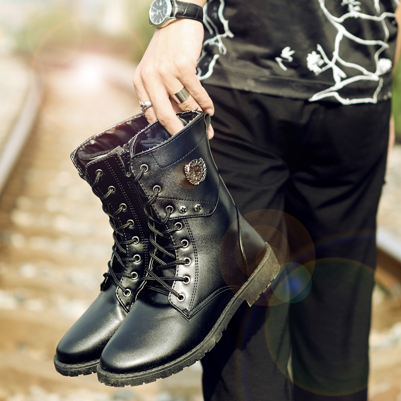2018 new mens casual Martin boots tall tube boots stage performance boots military shoe high B93