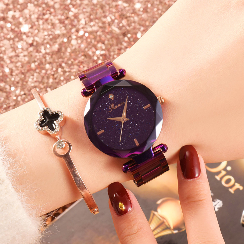 Women Wrist Watch Stainless Steel With Glass Chinese Watch Waterproof Plated Flat Round Movement Starry Design For Woman Women Wrist Watch Stainless Steel With Glass Chinese Watch Waterproof Plated Flat Round Movement Starry Design For Woman