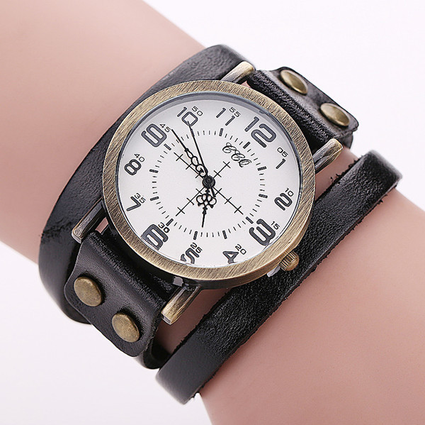 CCQ Vintage Leather Bracelet Watch Antique Women Wrist Watch Casual Ladies Quart