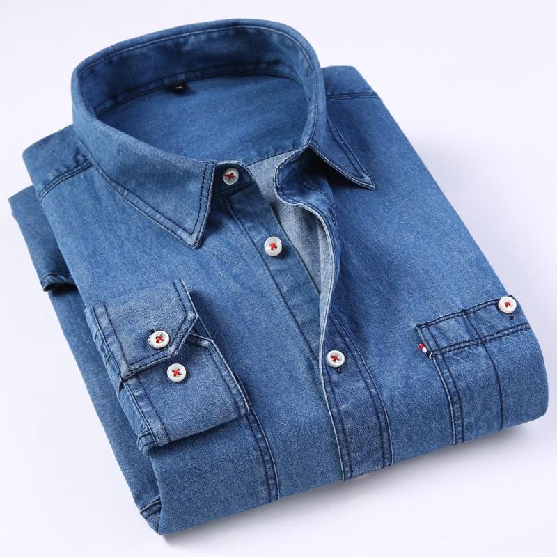 Casual Denim Shirt men Long Sleeve Cotton regular Fit denim Jeans shirt western Fashion Man's Clothes Easy Care 2020 Comfortable 3