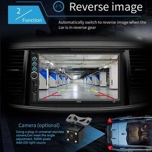 """Image 4 - 7 """"12 V HD Dello Schermo di Bluetooth Auto MP5 Lettore Video Audio Radio FM Macchina Fotografica di Rearview Del Telefono Collegare Auto Displayer con la Luce Colorata"""