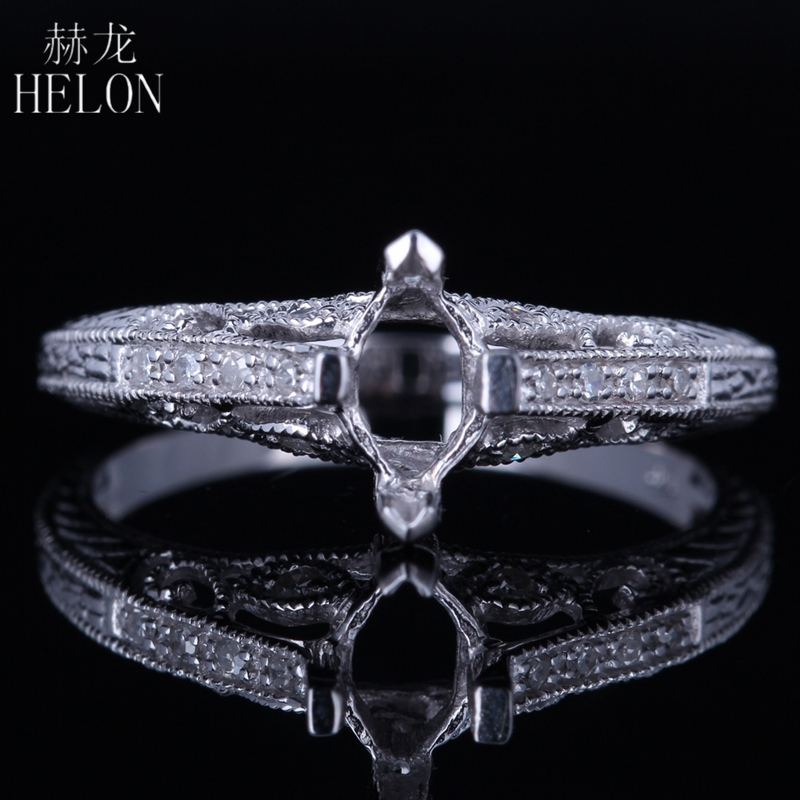 HELON Solid 10K/417 White Gold Gorgeous Marquise Cut 7x4mm Pave Natural Diamonds Semi Mount Engagement Wedding Fine Jewelry Ring helon pear cut 11x8mm solid 10k white gold pave natural diamonds semi mount wedding engagement elegant women s jewelry fine ring