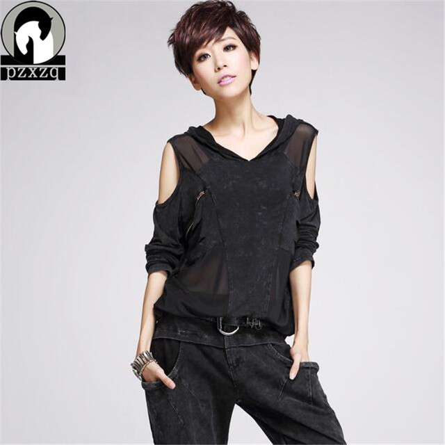 Fashion Women's Hooded T-shirt Strapless Loose Plus Size Long Sleeve Women Clothing Black Denim Splice Chiffon Tops Off Shoulder