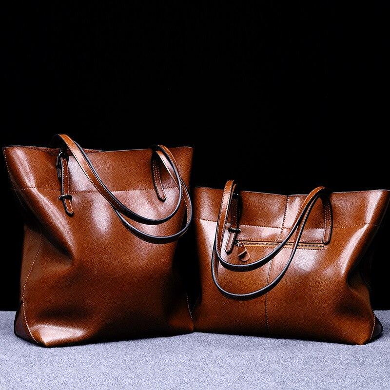 Bolso Retro brillante de cuero genuino para mujer, bolso de lujo, bolso de cuero de diseñador, bolso de hombro para mujer, bolso Casual-in Cubos from Maletas y bolsas    1
