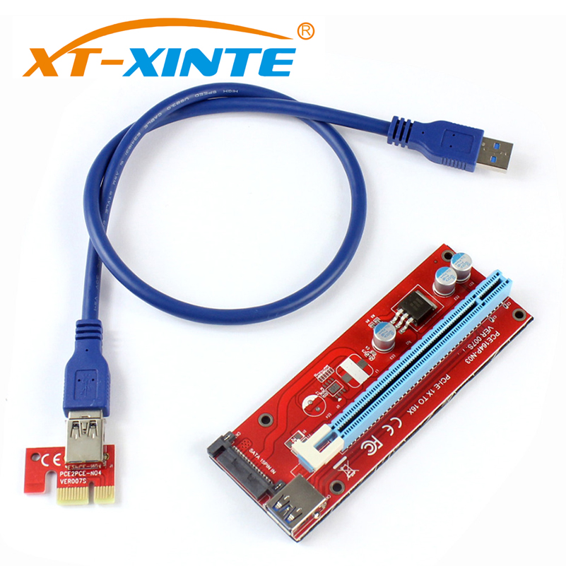 где купить PCIE 1X to 16X Graphics Extension Cord SATA Power Supply Adapter Card for ETH Bitcoin Mining Device дешево