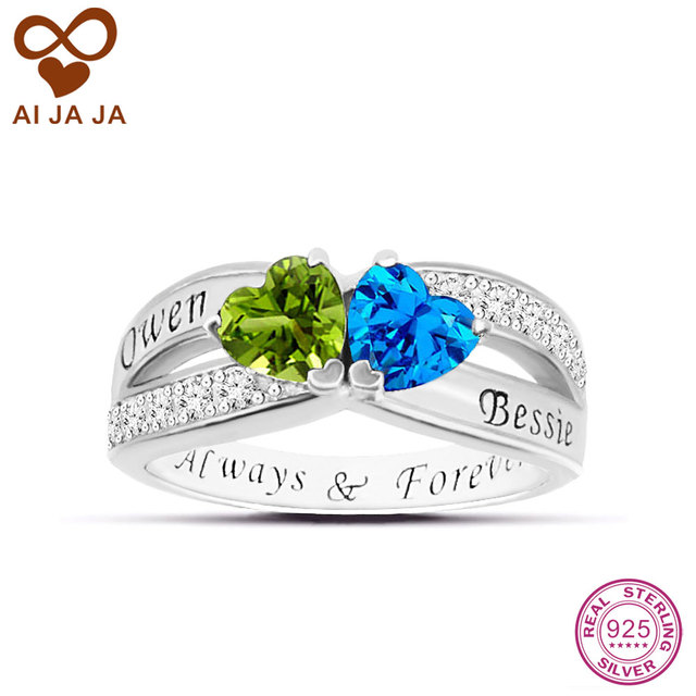 Aijaja 925 Sterling Silver Two Hearts Wedding Rings Personalized Engraved Names Birthstones Engagement