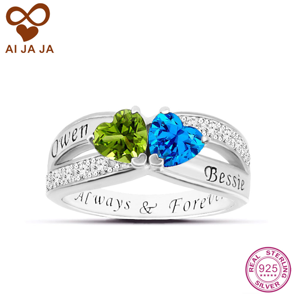Aijaja 925 Sterling Silver Two Hearts Wedding Rings Personalized Engraved  Names & Birthstones Engagement Rings &