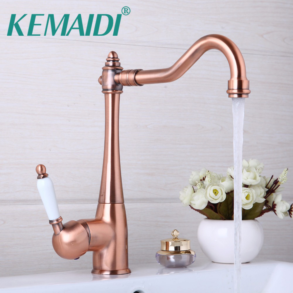 KEMAIDI Antique Copper 360 Swivel Chrome Brass Finish Deck Mounted Stream Spout Tap kitchen Sink Faucet Hot & Cold Mixer Taps 2017 new bikinis women swimsuit retro push up bikini set vintage plus size swimwear brazilian bathing suit beach wear swim 3xl