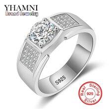 YHAMNI Luxury Pure Silver Jewelry 925 Sterling Silver Ring Men Jewelry CZ Zirconia Engagement Wedding Rings MJ018