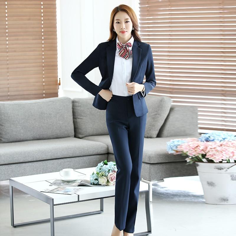 ניו אביב סתיו חליפות מכנסי מקצועי עם מעילים ומכנסיים נשים חליפות משרד גבירותיי עסק נשים צפצף סטי 279