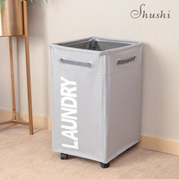 Shushi large dirty clothes storage basket 24 inch home roller cart laundry basket bag waterproof oxford collapsible bucket dolly