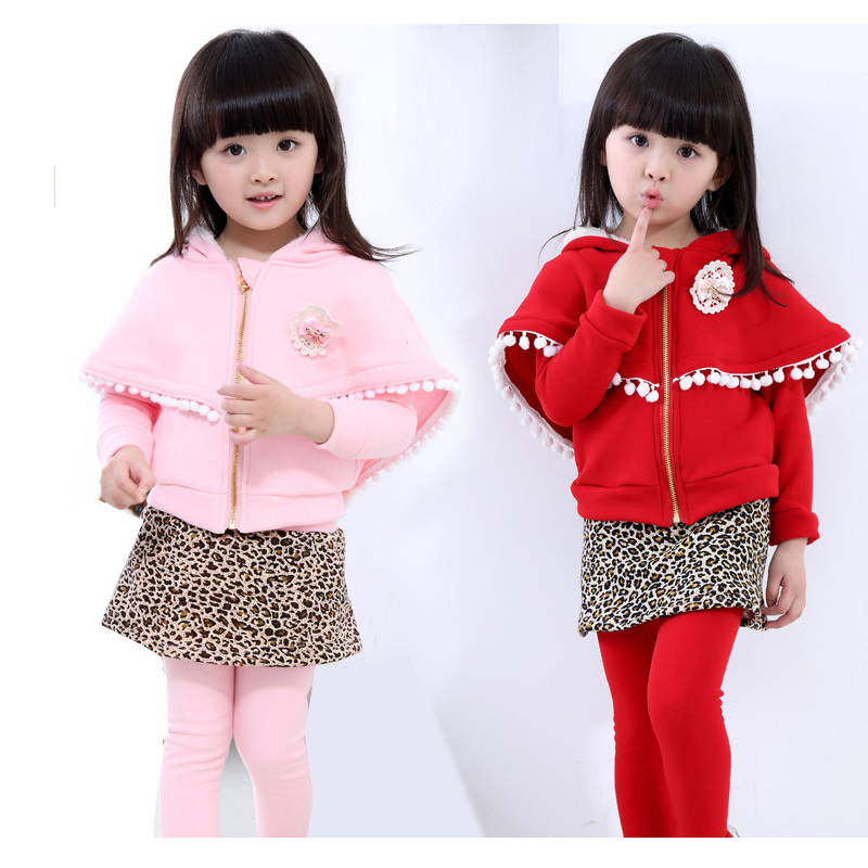 Girl winter suit 2018 Girls winter two piece suit Gilrs coat Plus velvet with cloak Girls Skirt-pants Leopard Skirt Culottes