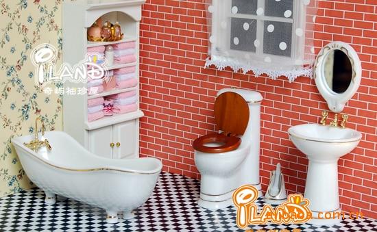 Mini Dollhouse Furniture Bathroom Ceramic Tube Toilet Basin Set Doll House Miniature Diy In Toys From