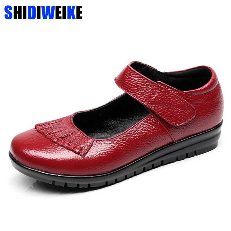 2018 Mary Janes Ladies Flats Hook & Loop Comfortable Women Shoes Round Toe Solid Genuine Leather Casual Shoes Plus Size 34~41 aiyuqi 2018 spring new genuine leather women shoes plus size 41 42 43 comfortable round head fashion handmade ladies shoes
